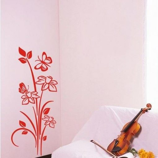 adhesivo pared flor